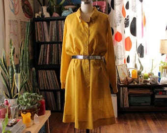 "1x 2x yellow shirt dress, vintage plus size shift dress . sheer 1970s shirtdress with button down collar . volup 48"" bust / hip"