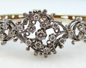 14k White & Yellow Gold 2.4 Carat Diamond Bangle Bracelet