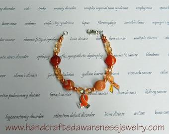 Orange Ribbon Awareness Bracelet, Orange Ribbon Bracelet, MS, CRPS, RSD, Leukemia, Chronic Obstructive Pulmonary Disease, Botswana Agate