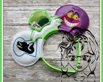 ALiCE, Smile CaT, HaT Inspired (3 Piece) Mr Miss Mouse Ears Headband ~ In the Hoop ~ Downloadable DiGiTaL Machine Emb Design by Carrie