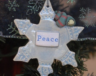 Handmade Snowflake Ornament with snail