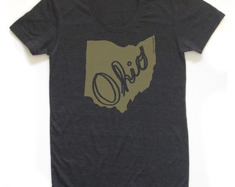 ohio women's shirt, columbus ohio tshirt, cleveland ohio t, state pride, metallic gold, screen print, silkscreen, free shipping