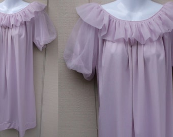 Vintage 60s Lavender Le Voy Nylon Long Baby Doll Nightgown with Chiffon Double Layer Ruffle and Puff Sleeves / Nightie Lingerie / Med - Lge