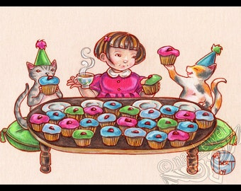 Kitty Cupcake Party Signed Art Print-You Choose-2.5x3.5, 5x7 or 8x10 In. Children Child Birthday Present Gift Tea Cute Cat Art Natalie Ewert