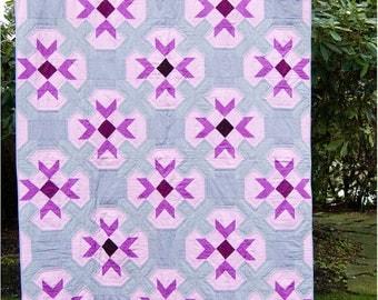 Flower Stamps, Modern Quilt Pattern, PDF Instant Download