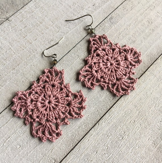 Gypsy Lace Crochet Earrings Handmade Lace in Ice Lily Pink Boho Chic Crocheted Dangle Hippie Earrings Festival Fashion Gift for Her
