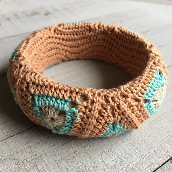 Wide Bangle Bangle Crochet Jewelry Handmade Boho Jewelry Festival Jewelry Rose Gold Aqua Blue and Linen Brown Geometric Gift for Her