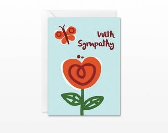 With Sympathy Mini Card - Gift Enclosure Card - Butterfly Flower