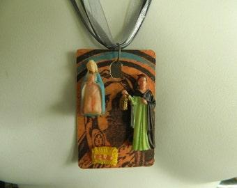 Just the Three of Us Jesus Joseph Mary Upcycled Pendant