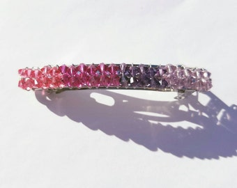 Swarovski Crystal Barrette, Shades of Pink and Purple, Hair Jewelry,Hair Clip