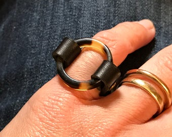 Round Tortoise Shell Ring Size 4 - ALL PROFITS donated to the ACLU