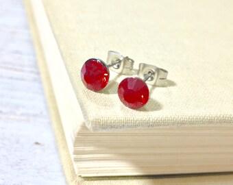 Red Rhinestone Stud Earrings, Small Red Rhinestone Studs, July Birthstone Studs, Red Glass Studs, Red Earrings, Surgical Steel Studs (HJ4)