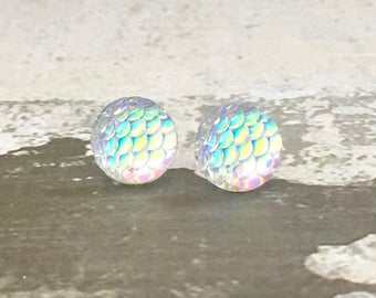 Clear Iridescent Earrings, Surgical Steel Studs, Fantasy Opal Studs, Mirrored Studs, Shimmering Mermaid Studs, Dragon Scale Studs