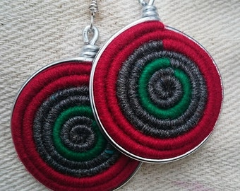 Vortex Yarn earrings -Green Peace within Red Zone