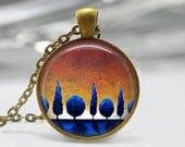 Tree Sunset Pendant, Blue Tree Sunset Art Pendant, Silhouette Tree Necklace, Tree Art Pendant, Bronze Silver, Tree Jewelry, Art Pendant 1076