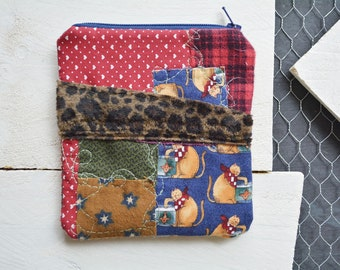 Patchwork Cat Small Zipper Bag. Zipper Pouch. Key Chain. Credit Card Change Wallet Holder. One of a kind Gift.