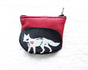 SALE Fox Coin Purse Leather Recycled