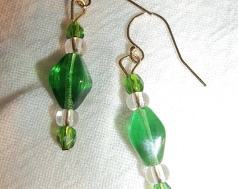Sassy Green & Clear Glass Earrings
