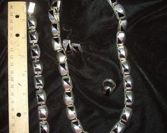 Sterling Silver Onyx Jewelry 4 Piece Set Necklace Earrings Ring Bracelet FINAL SALE