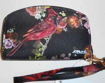 Cardinal Bird Hand Painted Ladies Leather Mini Wallet Wristlet