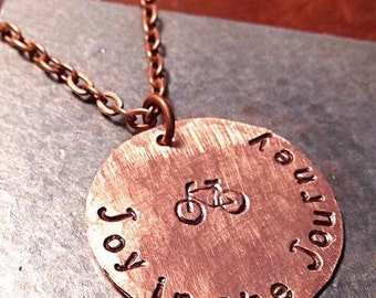 Joy in the Journey - Custom Hand Stamped Copper Necklace with bicycle