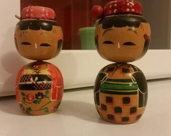 Vintage 50s Creative Kokeshi Set of Two Wooden Dolls from Japan - Husband and Wife Doll