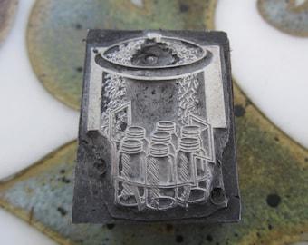 Canning Jar Holder Vintage Letterpress Printers Block