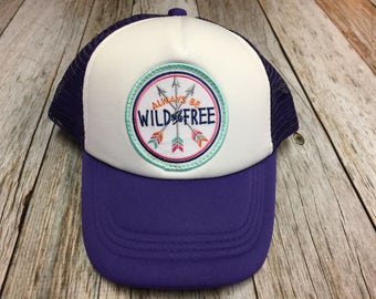 """Girls Toddler/Kid Purple Trucker Hat with """"Always be Wild and Free"""" Patch-12 Months to 4 Years"""