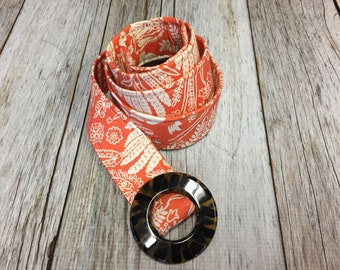 Women's Fabric Belt - Orange Botanicals Fabric Belt