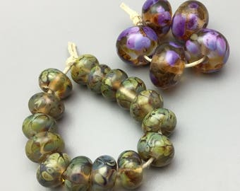 Lampwork Beads Spacers, Focals in Purple and Topaz