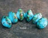 Oceana - Handmade Lampwork Glass Bicone Beads - SRA Elasia - MTO