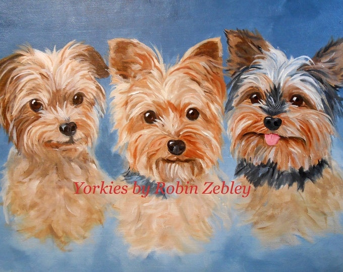 "Family of Yorkshire Terriers Portrait 24"" x 36"", Oils on Canvas"