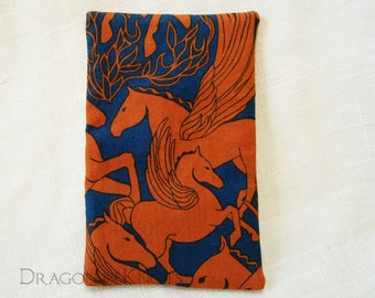 Pegasus Small Tissue Holder - dark blue and orange mythological creatures pocket facial tissue cover, winged horses flying, Greek mythology