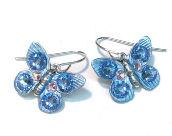 Butterfly Earrings - Butterfly Jewelry - Colorful and Sparkling Light Blue Crystals