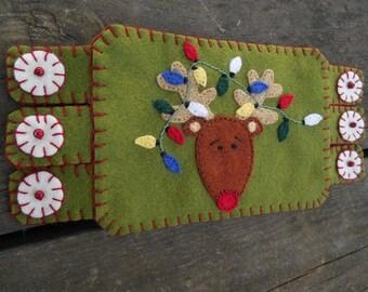 Reindeer, Rudolph, Christmas Lights, Embroidery Art, Fiber Art, drink coaster, Handmade Penny Rug, holiday Decor