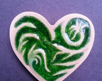 Leafy green Swirls Ceramic and recycled glass Heart Ornament pendant