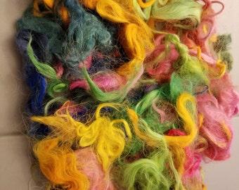 CRAZY Hand dyed Suri Alpaca Locks 100% multicolor spin art yarn blend doll hair