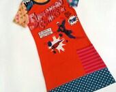 Size 6+ upcycled girls superhero dress, girls clothing, children's clothing,  gift, girls dress, ooak, retro, girls clothes, unique