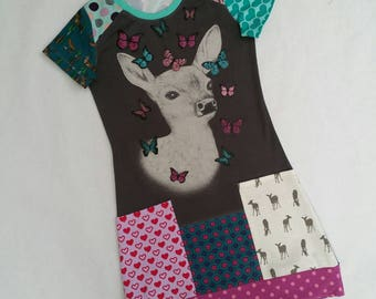 Size 12 upcycled girls dress, girls clothing, children's clothing, kids clothes, kidswear, girl,upcycling, deer, patchwork, teens, bambi