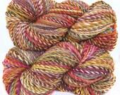 Handspun Yarn handdyed superwash Merino wool faux cashmere