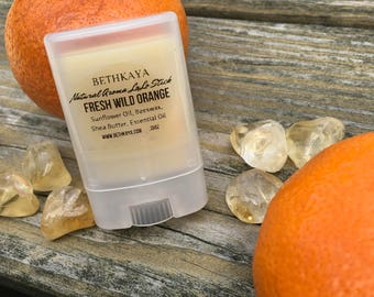 Fresh Orange Lotion Bar with Citrine - All Natural - Fresh Made - With a Small Tumbled Citrine