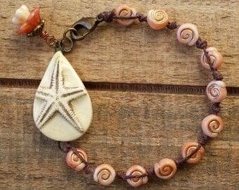 starfish bracelet, ocean jewelry, beach bracelet, boho jewelry, nautical bracelet, pink bracelet