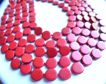 The Charlotte- Red Wood Statement Necklace