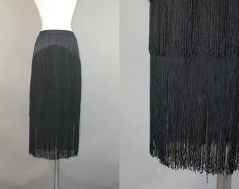 Vtg 80s black western saloon fringe deco flapper maxi long skirt S/M