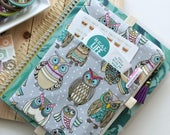 Planner stickers bag - journal cover - BUJO journal accessories - planner pouch - owls print - gray planner bag - owls planner cover