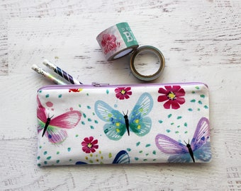 Butterfly pencil bag - pencil pouch - butterflies zipper pouch - cute zip pouch - nature lovers - BUJO accessories - planner bag - pen case