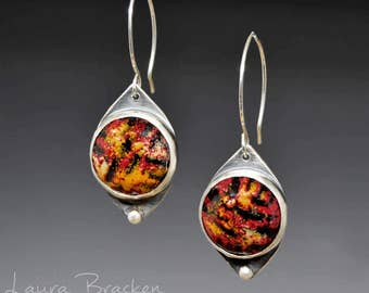 Abstract Enamel and Sterling Silver Earrings