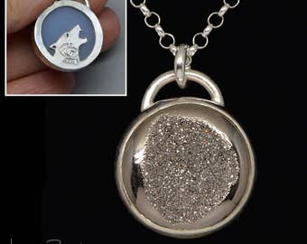 Silver Moon Druzy Howling Wolf Pendant Necklace, Handmade, Saw Pierce, Round, Crystal