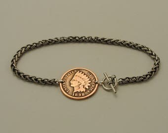 Indian Head Penny Coin Bracelet 1898