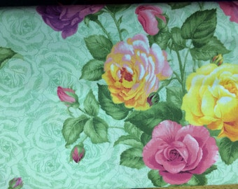 VIP ROSE GARDEN-fabric by the yard-quilting fabric-100% fabric-fat quarters-home decor fabric-yellow-pink-green-mauve-purple-floral fabric